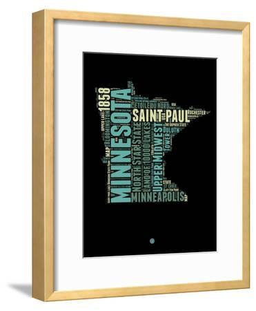 Minnesota Word Cloud 1-NaxArt-Framed Art Print