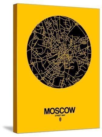 Moscow Street Map Yellow-NaxArt-Stretched Canvas Print