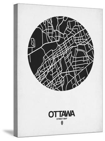Ottawa Street Map Black on White-NaxArt-Stretched Canvas Print