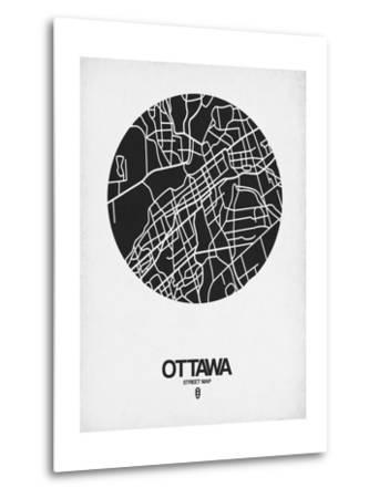 Ottawa Street Map Black on White-NaxArt-Metal Print