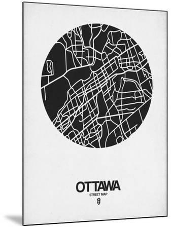 Ottawa Street Map Black on White-NaxArt-Mounted Art Print