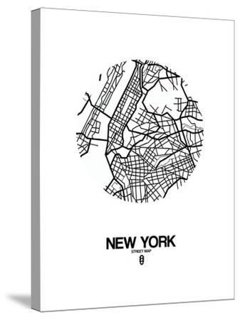 New York Street Map White-NaxArt-Stretched Canvas Print