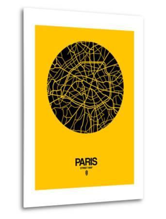 Paris Street Map Yellow-NaxArt-Metal Print