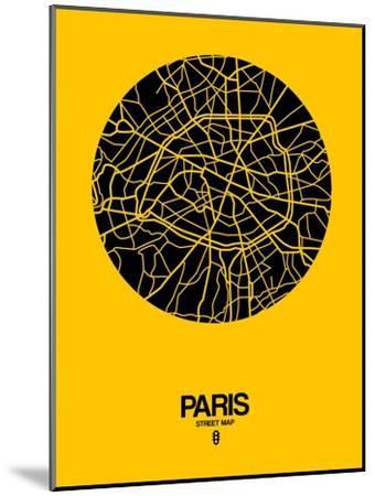 Paris Street Map Yellow-NaxArt-Mounted Art Print