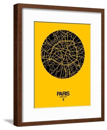 Paris Street Map Yellow-NaxArt-Framed Art Print