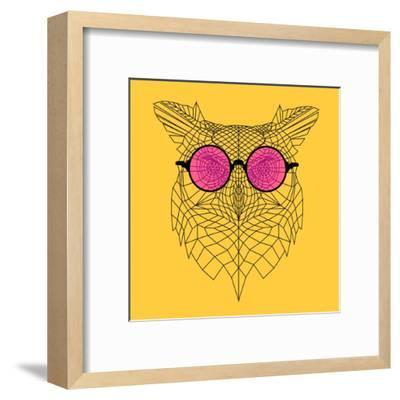 Owl in Pink Glasses-Lisa Kroll-Framed Art Print