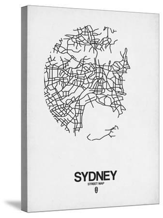 Sydney Street Map White-NaxArt-Stretched Canvas Print