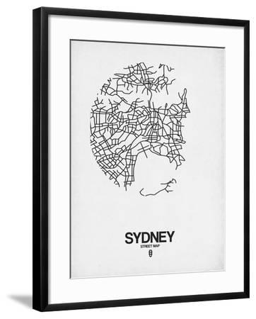 Sydney Street Map White-NaxArt-Framed Art Print
