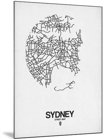 Sydney Street Map White-NaxArt-Mounted Art Print