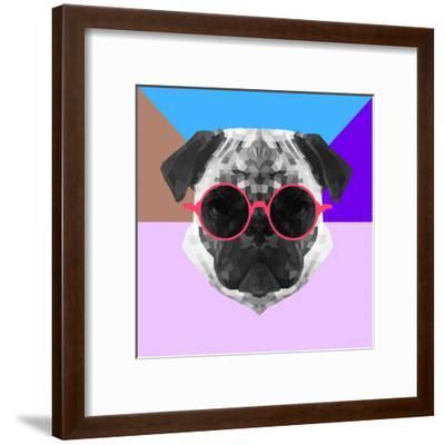 Party Pug in Pink Glasses-Lisa Kroll-Framed Art Print
