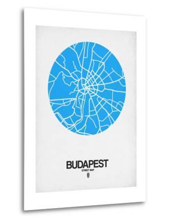 Budapest Street Map Blue-NaxArt-Metal Print