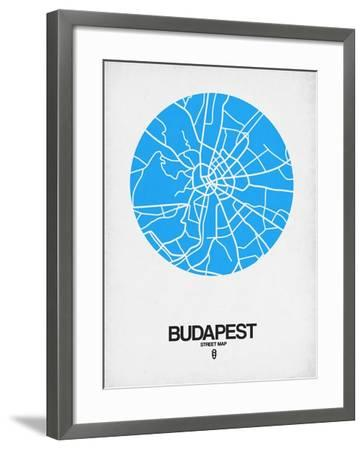 Budapest Street Map Blue-NaxArt-Framed Art Print