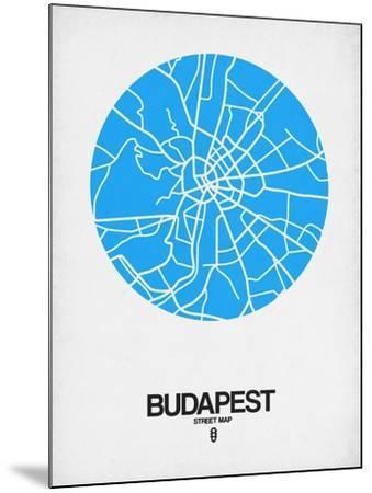 Budapest Street Map Blue-NaxArt-Mounted Art Print