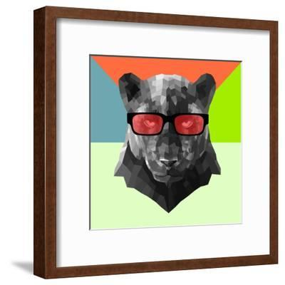 Party Panther in Red Glasses-Lisa Kroll-Framed Art Print