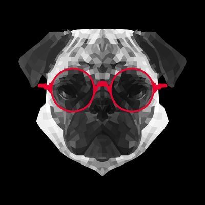 Pug in Red Glasses-Lisa Kroll-Art Print