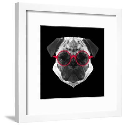 Pug in Red Glasses-Lisa Kroll-Framed Art Print