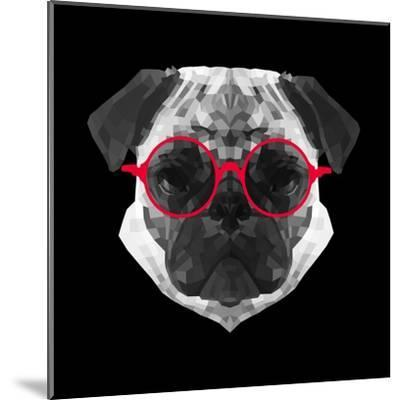 Pug in Red Glasses-Lisa Kroll-Mounted Art Print