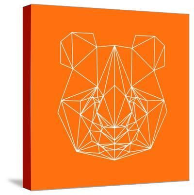 Panda on Orange-Lisa Kroll-Stretched Canvas Print