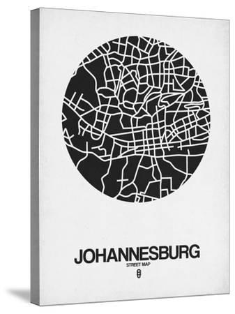Johannesburg Street Map Black on White-NaxArt-Stretched Canvas Print