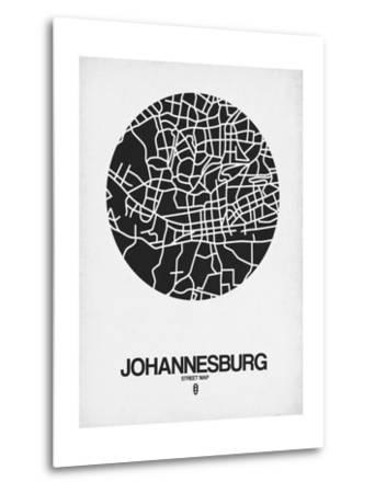Johannesburg Street Map Black on White-NaxArt-Metal Print