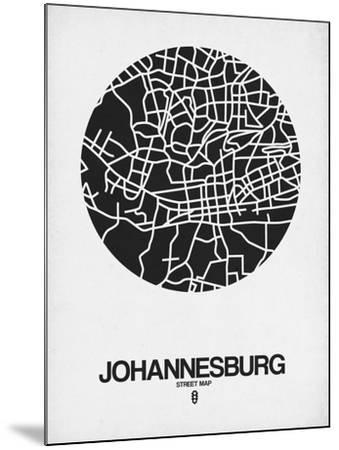 Johannesburg Street Map Black on White-NaxArt-Mounted Art Print