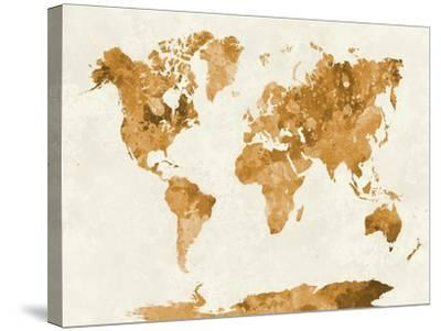 World Map in Watercolor Orange-paulrommer-Stretched Canvas Print
