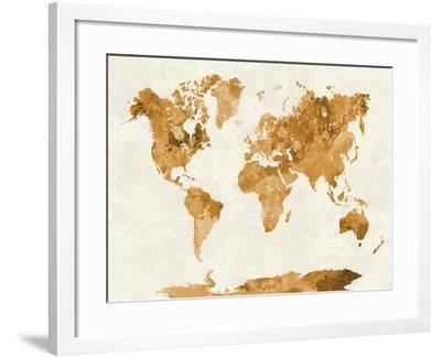 World Map in Watercolor Orange-paulrommer-Framed Art Print
