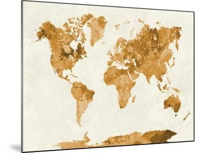 World Map in Watercolor Orange-paulrommer-Mounted Art Print