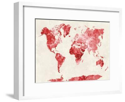 World Map in Watercolor Red-paulrommer-Framed Giclee Print