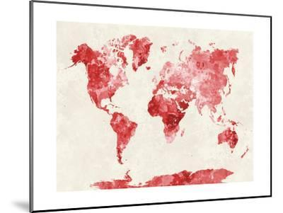 World Map in Watercolor Red-paulrommer-Mounted Giclee Print