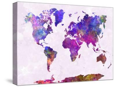 World Map in Watercolor Purple Warm-paulrommer-Stretched Canvas Print