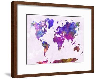 World Map in Watercolor Purple Warm-paulrommer-Framed Giclee Print