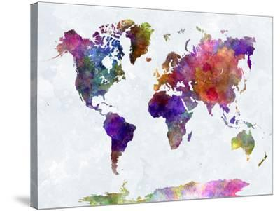 World Map in Watercolorpurple and Blue-paulrommer-Stretched Canvas Print