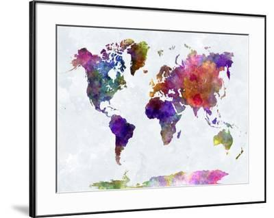 World Map in Watercolorpurple and Blue-paulrommer-Framed Premium Giclee Print