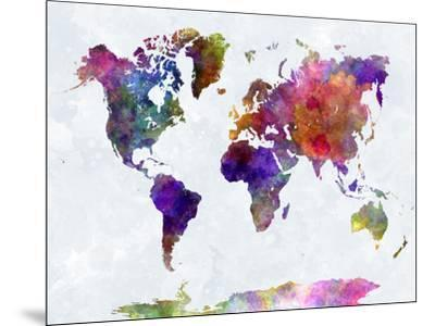 World Map in Watercolorpurple and Blue-paulrommer-Mounted Premium Giclee Print