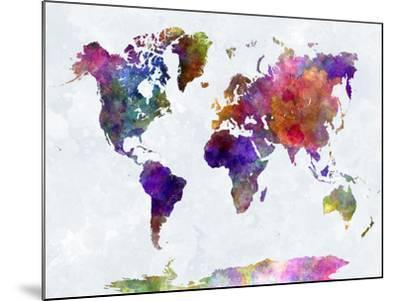 World Map in Watercolorpurple and Blue-paulrommer-Mounted Giclee Print