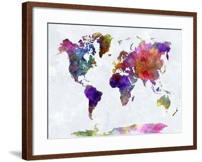World Map in Watercolorpurple and Blue-paulrommer-Framed Giclee Print