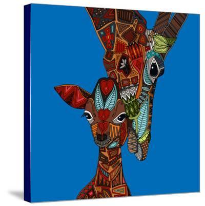 Giraffe Love-Sharon Turner-Stretched Canvas Print
