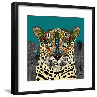 Leopard Queen Teal-Sharon Turner-Framed Premium Giclee Print