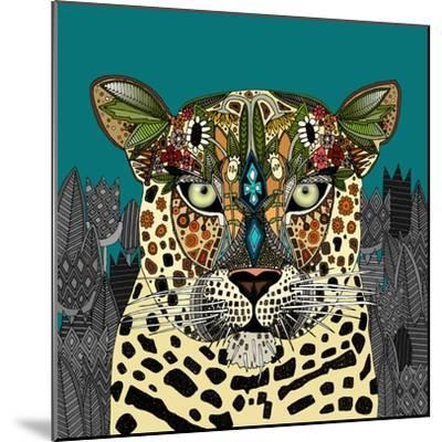 Leopard Queen Teal-Sharon Turner-Mounted Premium Giclee Print