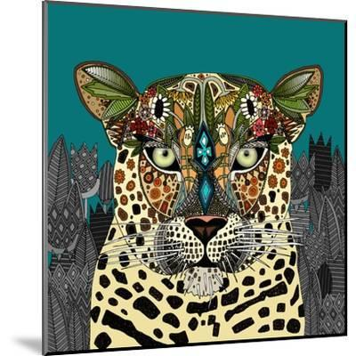 Leopard Queen Teal-Sharon Turner-Mounted Art Print