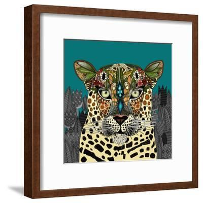 Leopard Queen Teal-Sharon Turner-Framed Art Print