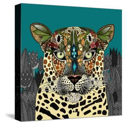 Leopard Queen Teal-Sharon Turner-Stretched Canvas Print