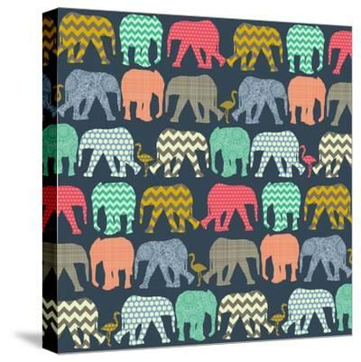 Baby Elephants and Flamingos (Variant 1)-Sharon Turner-Stretched Canvas Print