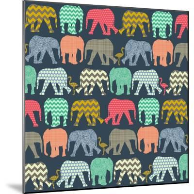 Baby Elephants and Flamingos (Variant 1)-Sharon Turner-Mounted Art Print