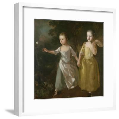 The Painter's Daughters Chasing a Butterfly, C.1759-Thomas Gainsborough-Framed Giclee Print
