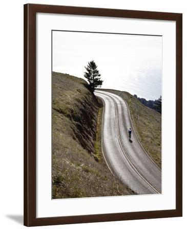 A Bicyclist Riding in Mount Tamalpais State Park, with the Pacific Ocean in the Distance-Keith Barraclough-Framed Photographic Print