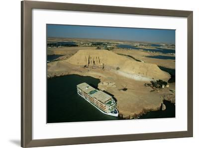 A Cruise Ship on Lake Nasser Near the Great Temple of Abu Simbel-Marcello Bertinetti-Framed Photographic Print