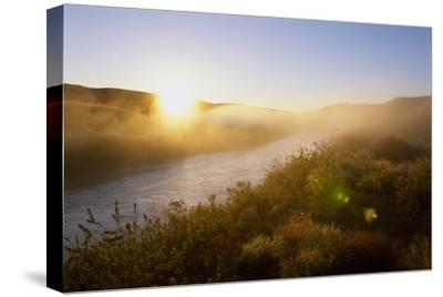 Sunrise Through Fog on the Loup River in the Nebraska Sandhills-Michael Forsberg-Stretched Canvas Print