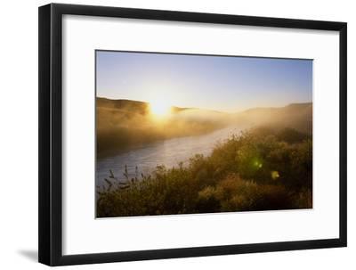 Sunrise Through Fog on the Loup River in the Nebraska Sandhills-Michael Forsberg-Framed Photographic Print